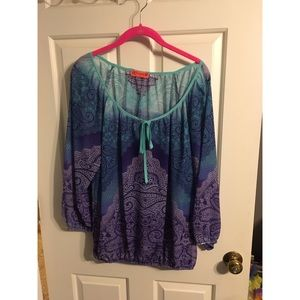 Tops - Sheer blue and purple paisley top size L